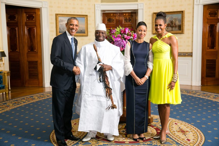 President Barack Obama and First Lady Michelle Obama greet His Excellency Yahya A.J.J. Jammeh, President of the Republic of The Gambia, and Mrs. Zineb Jammeh (Photo: AmandaLucidon/The White House)
