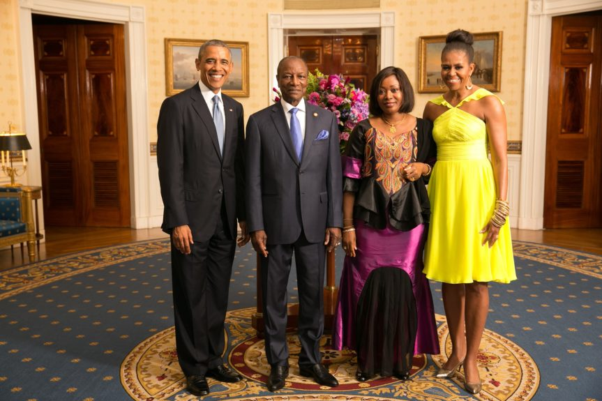 President Barack Obama and First Lady Michelle Obama greet His Excellency Alpha Conde, President of the Republic of Guinea, and Mrs. Djene Kaba Conde(Photo: AmandaLucidon/The White House)