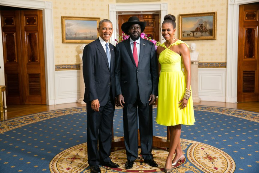 President Barack Obama and First Lady Michelle Obama greet His Excellency Salva Kiir Mayardit, President of the Republic of South Sudan(Photo: AmandaLucidon/The White House)
