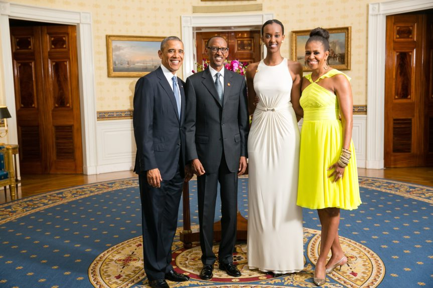 President Barack Obama and First Lady Michelle Obama greet His Excellency Paul Kagame, President of the Republic of Rwanda, and his daughter(Photo: AmandaLucidon/The White House)