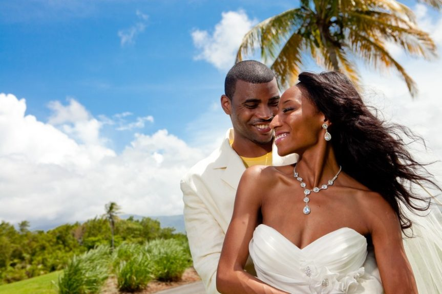 The couple Lachelle Robinson and Larry Sessons all smiles in sunny Puerto Rico