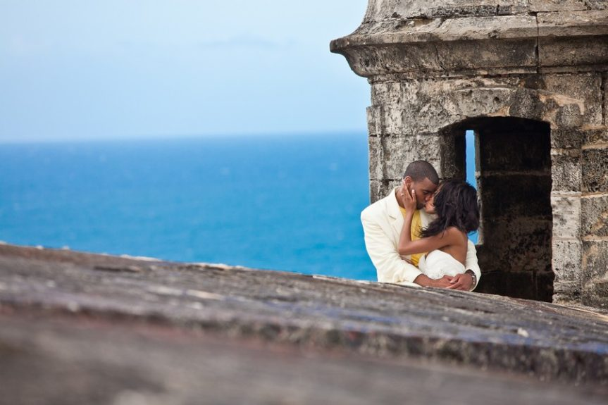 The newly married couple Lachelle Robinson and Larry Sessons sharing a moment in San Juan, Puerto Rico