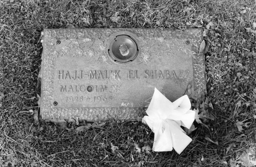 The small marker is the grave of one of the world's most famous men, Malcolm X, leader of the Nation of Islam.  (G. Marshall Wilson/EBONY Collection)