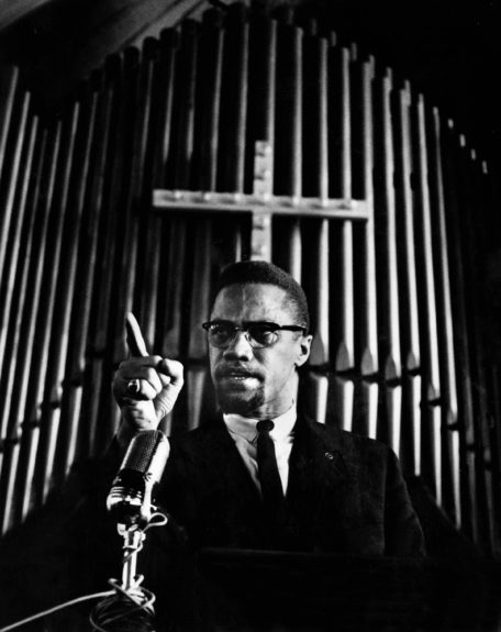 Malcolm X speaking. (G. Marshall Wilson/EBONY Collection)