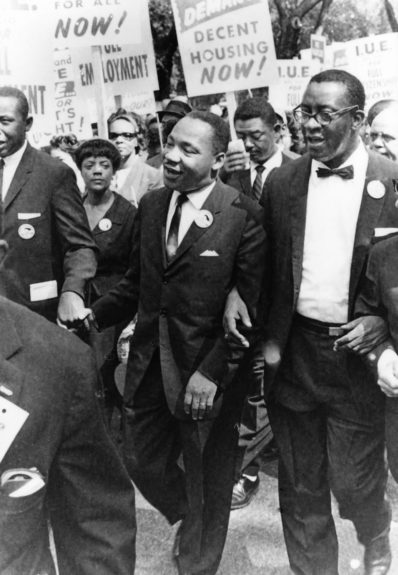 Martin Luther King Jr. and others participating in March on Washington. (Moneta Sleet, Jr./EBONY Collection)