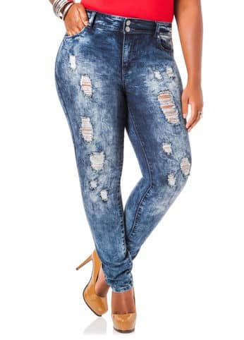 "<a href=""http://bit.ly/1o7NWfH"" target=""_blank"">Ashley Stewart Five Pocket Skinny Jean</a>, $44.50"