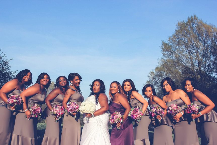 The bridal party stunned alongside the lovely bride.
