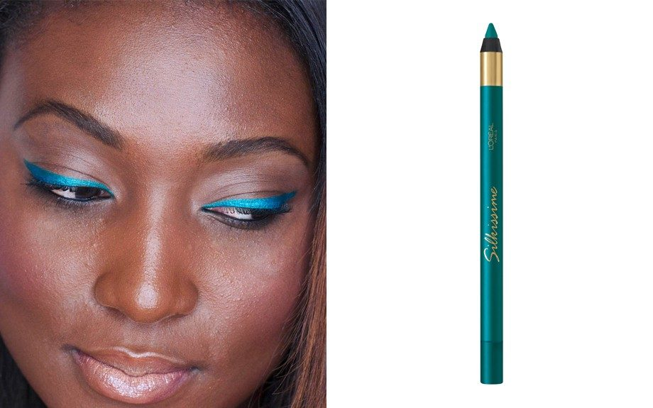 A heavy winged liner is a perfect way to add drama to your look. I used the L'oreal Infallible Silkissime Eyeliner in True Teal ($8.99)