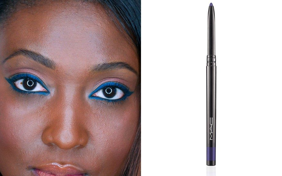 """An easy way to play with this trend for the office is to use a deep blue, lining both the top and bottom lid. Used here is the MAC's Fluidline Eye Pencil in Deep Blue Sea (<a href=""""http://www.maccosmetics.com/product/shaded/151/31643/Products/Eyes/Liner/Fluidline-Eye-Pencil/index.tmpl?SKU_I"""