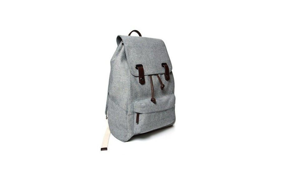 """For him: Everlane Men's The Twill Snap Backpack, $65,<a href=""""http://www.everlane.com/collections/mens-newest-arrivals/products/mens-twill-backpack-reverse-denim-black-leather"""" target=""""_blank"""">www.everlane.com</a>"""