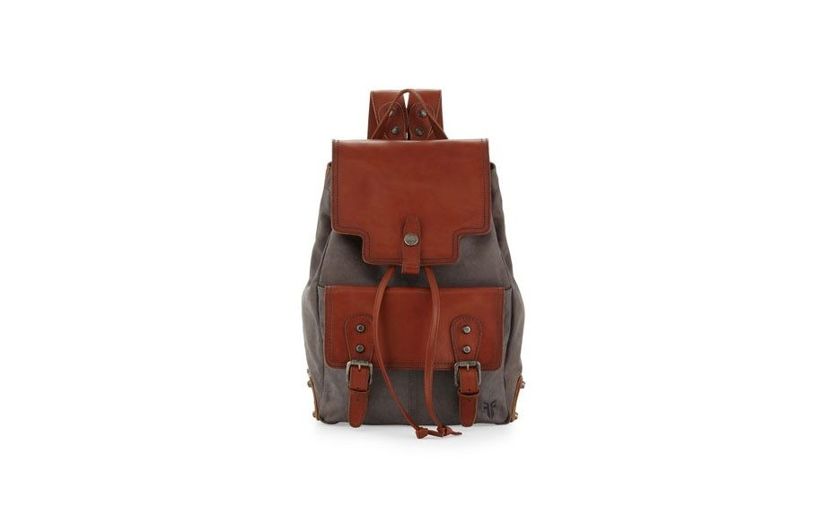 """For him: Frye Men's Tracy Buffalo Leather Backpack, $498,<a href=""""http://www.neimanmarcus.com/Frye-Tracy-Buffalo-Leather-Backpack-Slate/prod167070187/p.prod?ci_src=14110925&ci_sku=sku150180575&ecid=NMAP_backpacks"""">www.neimanmarcus.com</a>"""