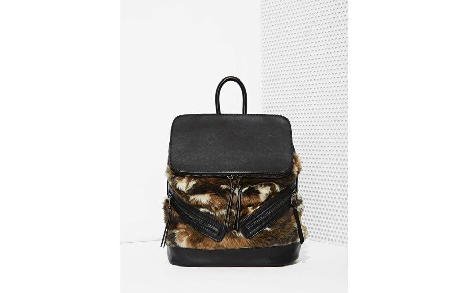 """For her: Nasty Gal One Faux Fur The Road Backpack, $58,<a href=""""http://www.nastygal.com/cold-weather-shop/one-faux-fur-the-road-backpack?utm_source=polyvore.com&utm_medium=feed&utm_campaign=backpacks"""" target=""""_blank"""">www.nastygal.com</a>"""