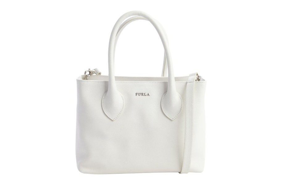 """Everyone needs a white bag this season. ThisFurlaPetaloWhite Leather Martha Small Convertible Satchel is a great size for work and play, $167, <a href=""""http://goo.gl/SASo26"""" target=""""_blank"""">www.bluefly.com.</a>"""