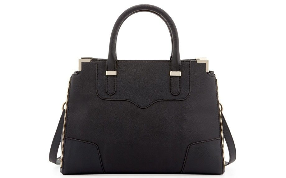 """A black bag is also always needed. Even when it's warm out. Update your go-to for this RebeccaMinkoffAmorousSaffianoSatchel Bag, $325, <a href=""""http://goo.gl/9upb4v"""" target=""""_blank"""">www.cusp.com.</a>"""