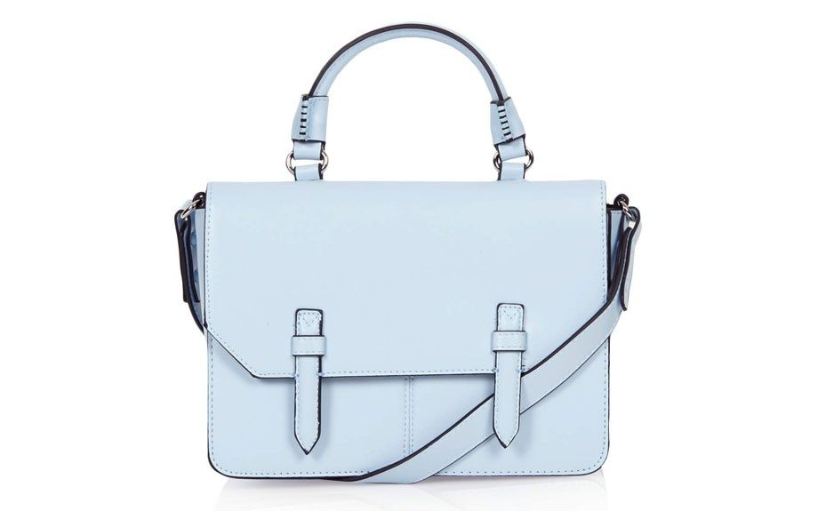 """ThisTopshopMedium Clean Satchel is a perfect pastel everyday bag for Summer that won't look out of season this Fall, $56,<a href=""""http://goo.gl/BRj4fX"""" target=""""_blank""""> www.topshop.com.</a>"""