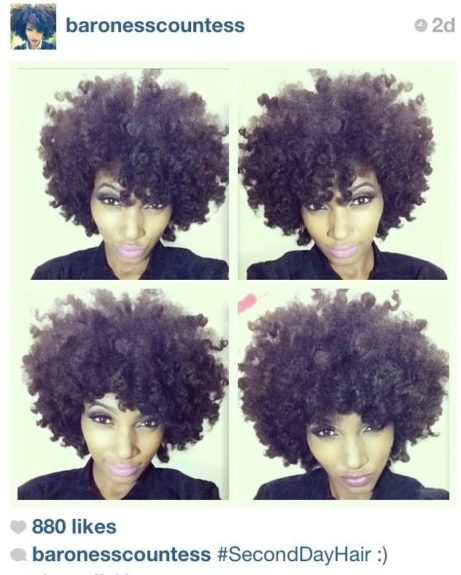 "<a href=""http://www.instagram.com/baronesscountess"" target=""_blank"">@baronesscountess</a>: Her 'fro will send you into a curly frenzy. One of the most versatile Afros we've seen."