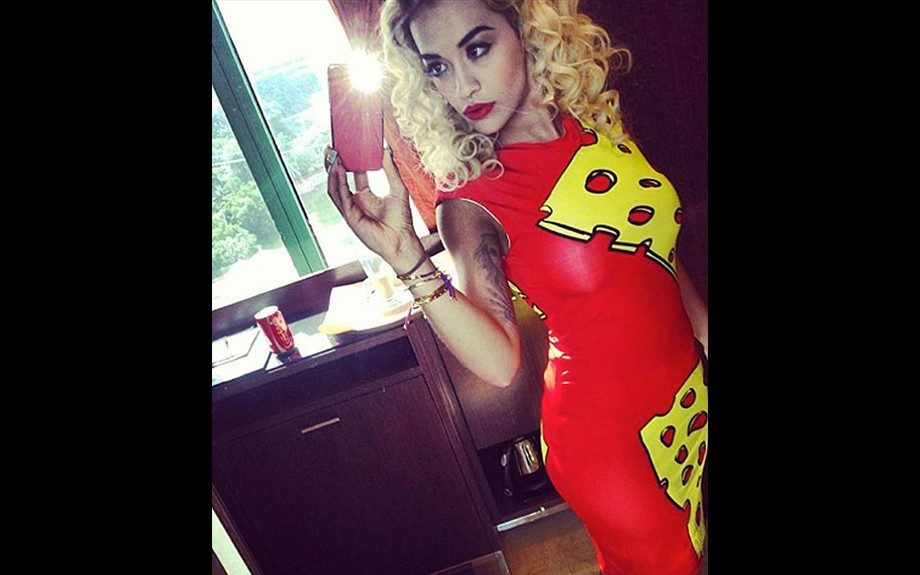 Rita Ora posed in a Swiss Cheese Dress from The Rodnik Band, which has a collection that plays on pop art. Photo: Rita's Instagram