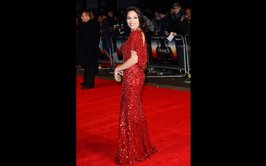 Rosario Dawson is haute in red at the <em>Trance</em> London premiere in an embellished gown from Jenny Packham. Photo: WENN