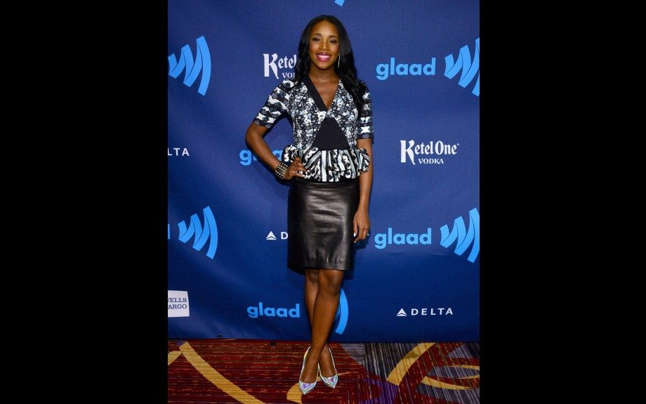 DJ Kiss was in attendance at the 24th annual GLAAD Media Awards sporting Peter Pilotto Lara Crepe and Silk Peplum Top, L'Agence Wave Pleat Leather Pencil Skirt, and a pair of Stella McCartney Holographic Faux Leather Pumps. Photo: Getty