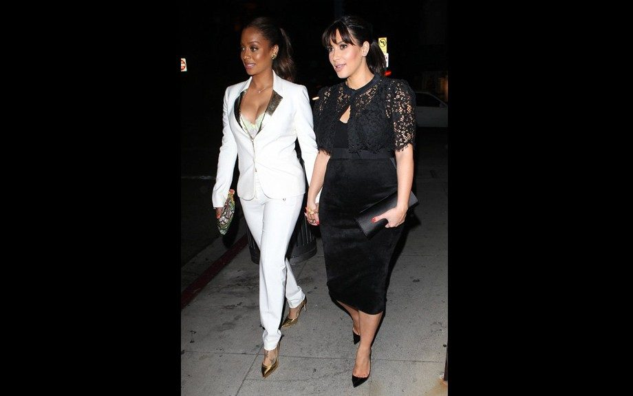 Kanye isn't the only one holding Kim's hand; the newly super slim LaLa Anthony had a girl's dinner with Kim Kardashian at Crustacean Restaurant in Beverly Hills rocking a white blazer with gold lapels, matching trousers and a pair of Jimmy Choo Agnes Mirror Leather Pumps.