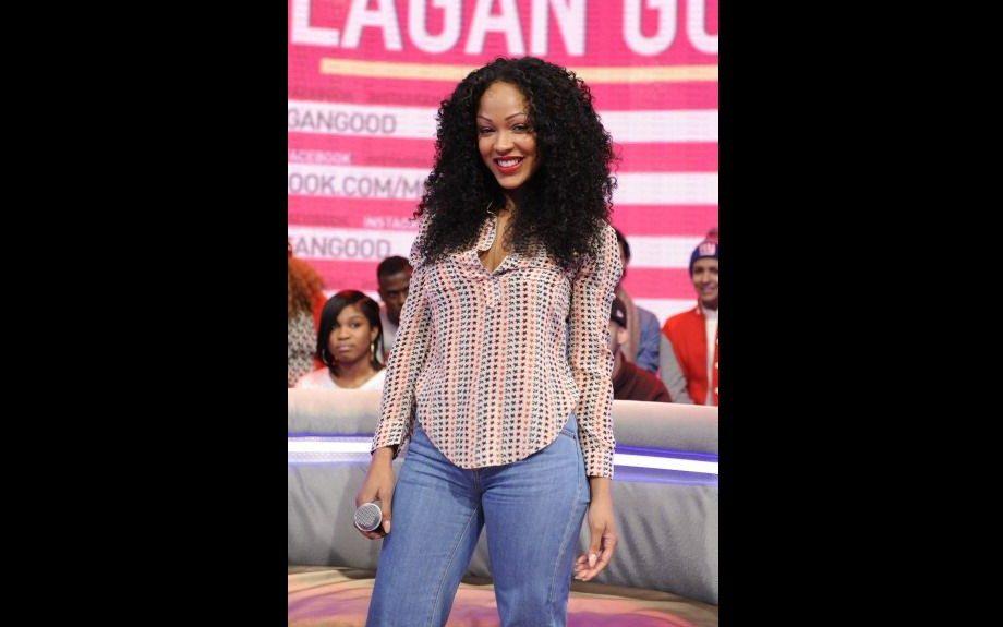 Meagan Good gave '70s fever when she appeared on <em>106 & Park</em> in an Etoile Isabel Marant Mansfield Printed Silk Crepe Blouse and a pair of retro wide flare jeans. That hair? Love. Photo: Getty