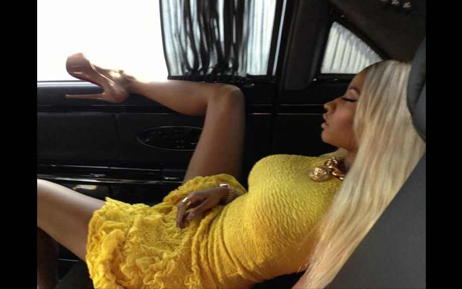 Nicki Minaj takes the most stylish nap ever while on her way to <em>American Idol</em>. She gets her beauty sleep rocking an Alexander McQueen Crinkled Textured Dress and nude Christian Louboutin platform pumps. Photo Credit: Nicki's Twitter
