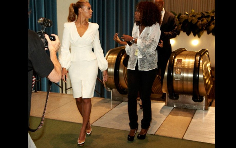 Bey changed into an Alexander McQueen bell sleeve dress, and colorblocked pumps. Photo Credit: Beyonce's Tumblr