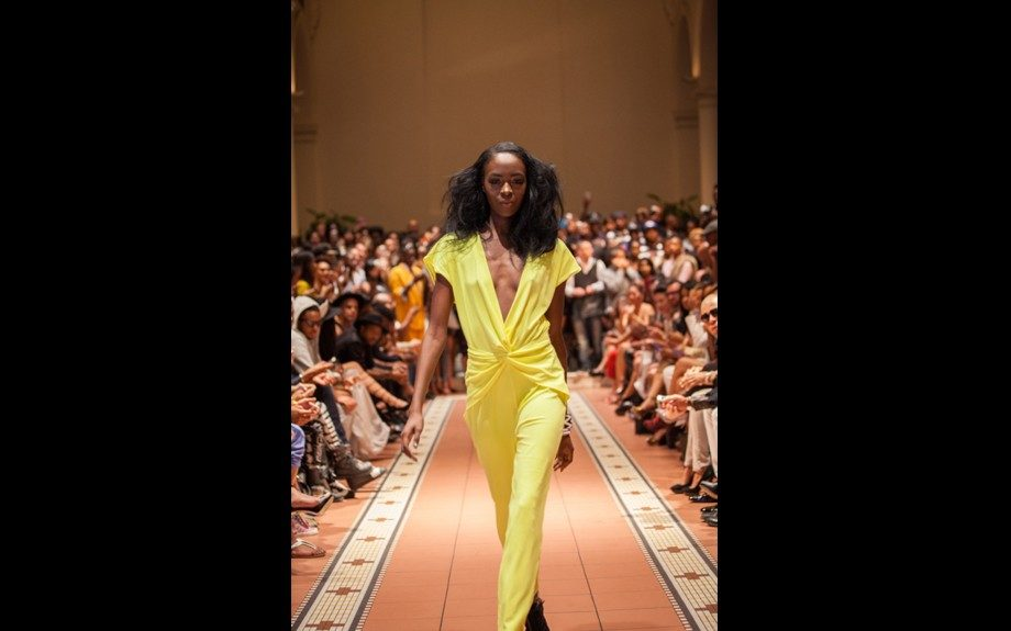 This bright yellow number made a scene at Samantha's Spring 2014 presentation.