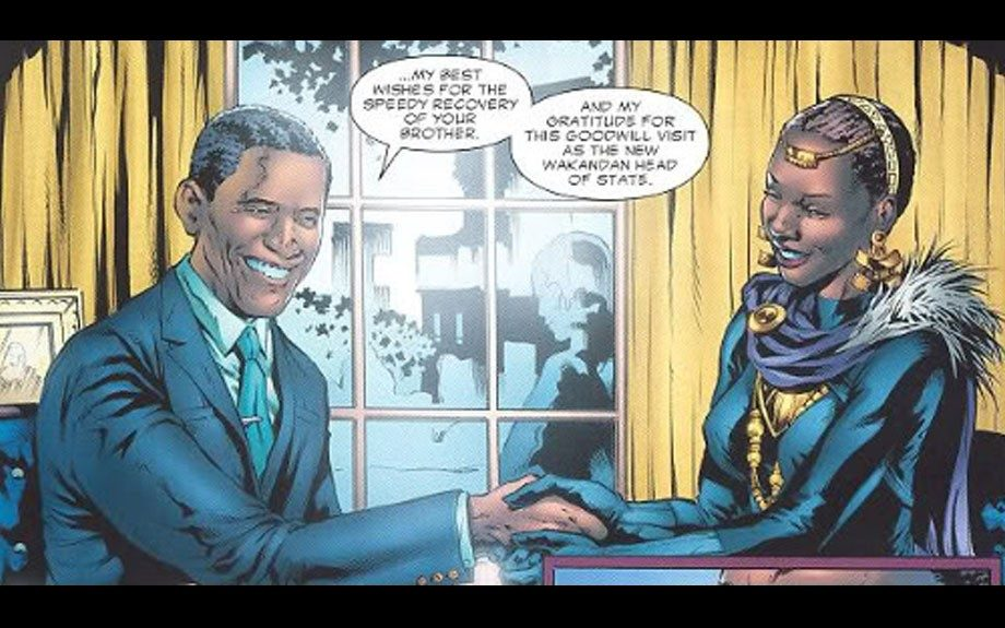 Sister to the original Black Panther, Shuriassumed the mantle of the African superhero in 2005. (Shown here with President Barack Obama, naturally.)