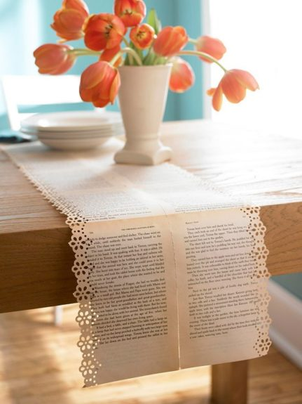 Create an 'upcycled' table runner from old book pages