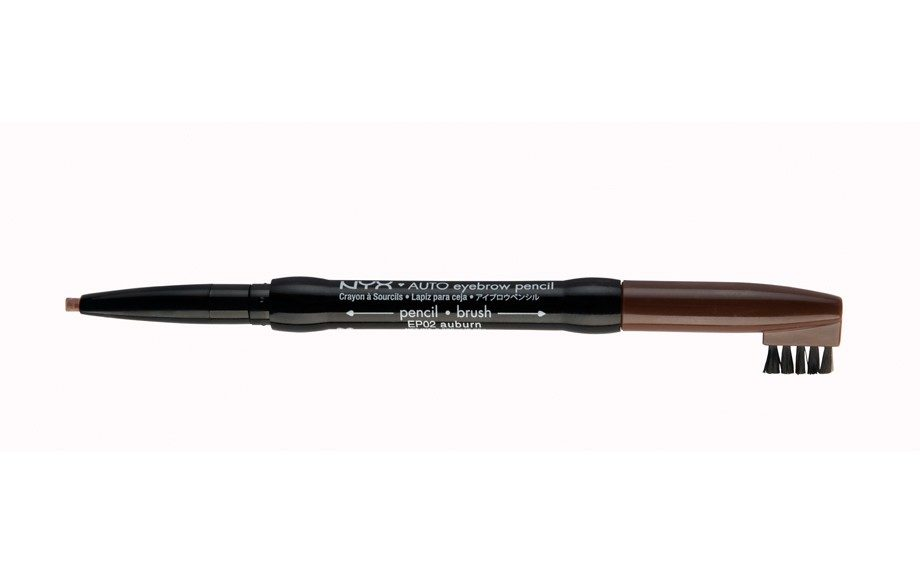 "A blend of vegetable, coconut and soybean oil makes up this NYX Auto Eyebrow Pencil, $4.50, <a href=""http://www.nyxcosmetics.com"">www.nyxcosmetics.com</a>."