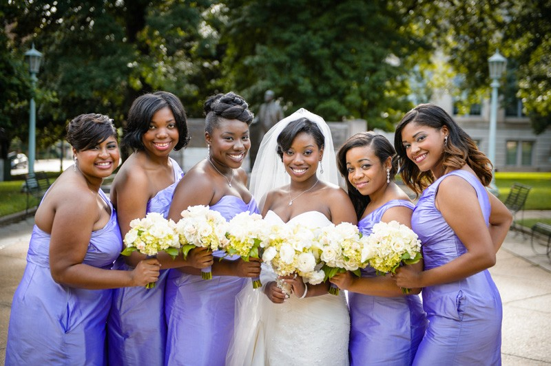 The bridal party looking lovely in lavender.
