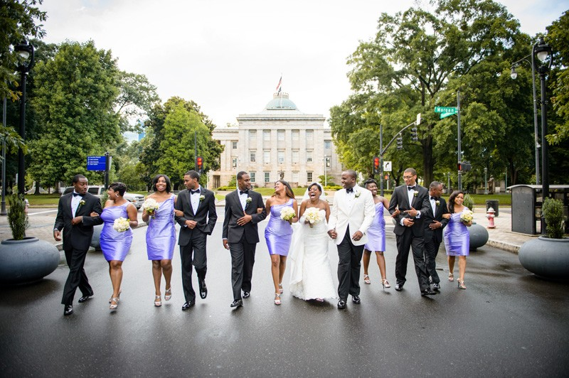 The bridal party and groomsmen look so good together.