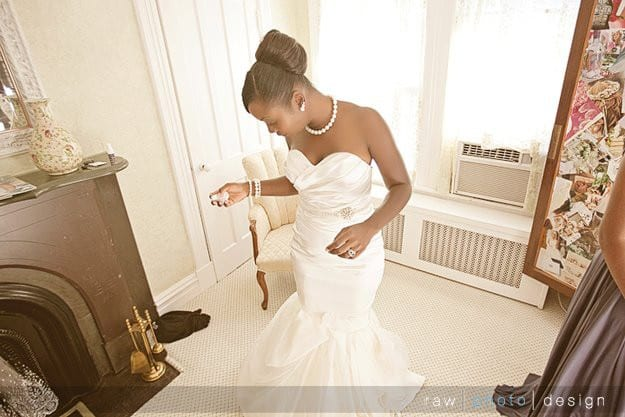 "<p class=""p1""> 	One of the stunning Pantora Real Brides in her custom dress"