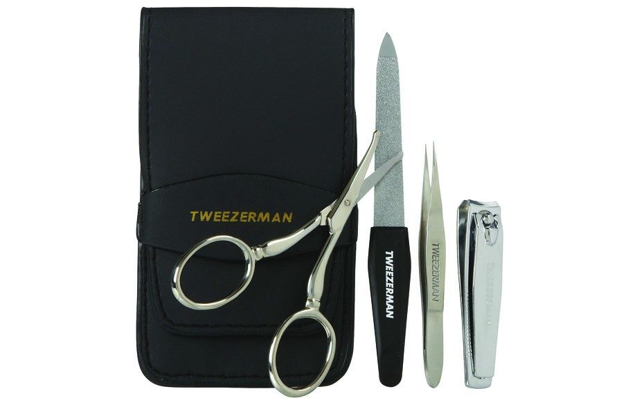 <em>Tip</em>: When tweezing, do not go for a particular shape. Embrace the shape you have and clean up around that. Try the Tweezerman Essential Grooming Kit to better suit your needs. http://www.tweezerman.com/store/product/essential-grooming-kit/