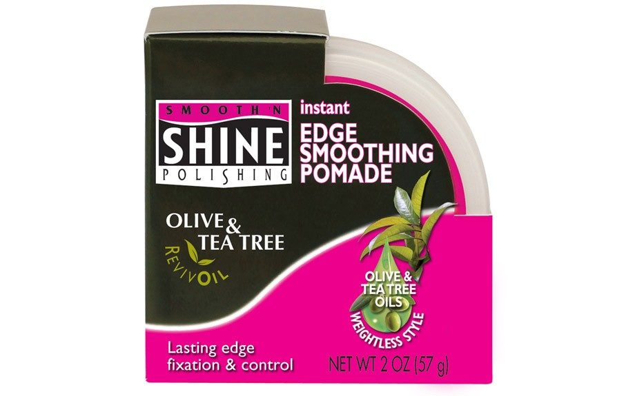 """To maximize smoothness, I use this. It gives a sleek finish and cancels out any unwanted flyaways."" Smooth 'N Shine Olive & Tea Tree RevivOil Instant Edge Smoothing Pomade ($2.99; drugstore.com)"