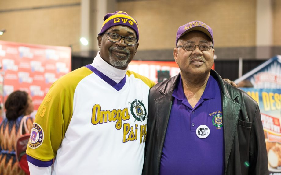 <p> Brothers of Omega Psi Phi attending the CIAA Fan Fest</p>