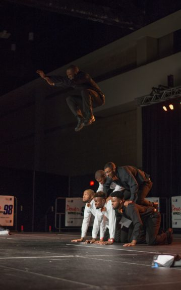 <p> The high flying brothers of Alpha Phi Alpha during the McDonald's CIAA Stepshow Throwdown</p>
