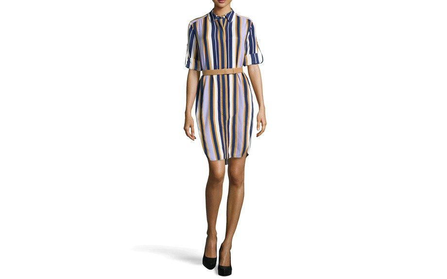 """HalstonHeritage Striped Long-Sleeve BeltedShirtdress, $197, <a href=""""http://bit.ly/1wGSt8v"""" target=""""_blank"""">www.neimanmarcus.com</a>"""