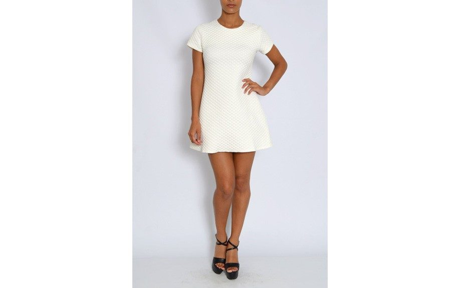 """Rare White Quilted Shift Dress, $61.70,<a href=""""http://www.rarelondon.com/white-quilted-shift-dress.html"""" target=""""_blank"""">www.rarelondon.com</a>."""