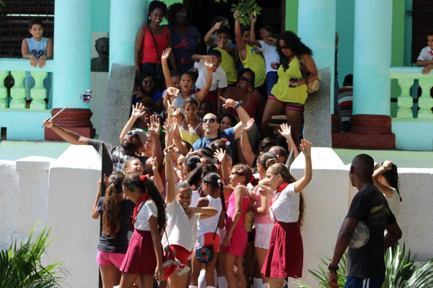 Lifers visit a local school in Havana to talk with the students and surprise them with gifts.