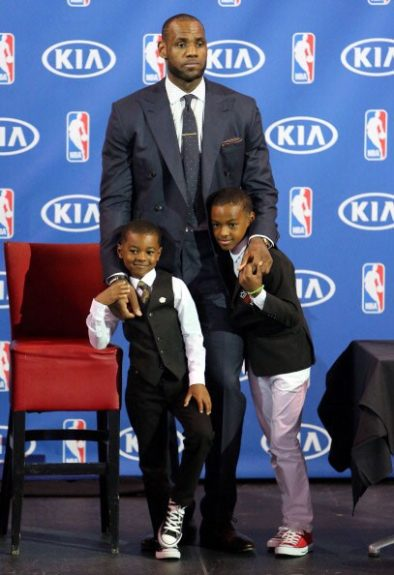 LeBron James and sons, LeBron Jr. and Bryce