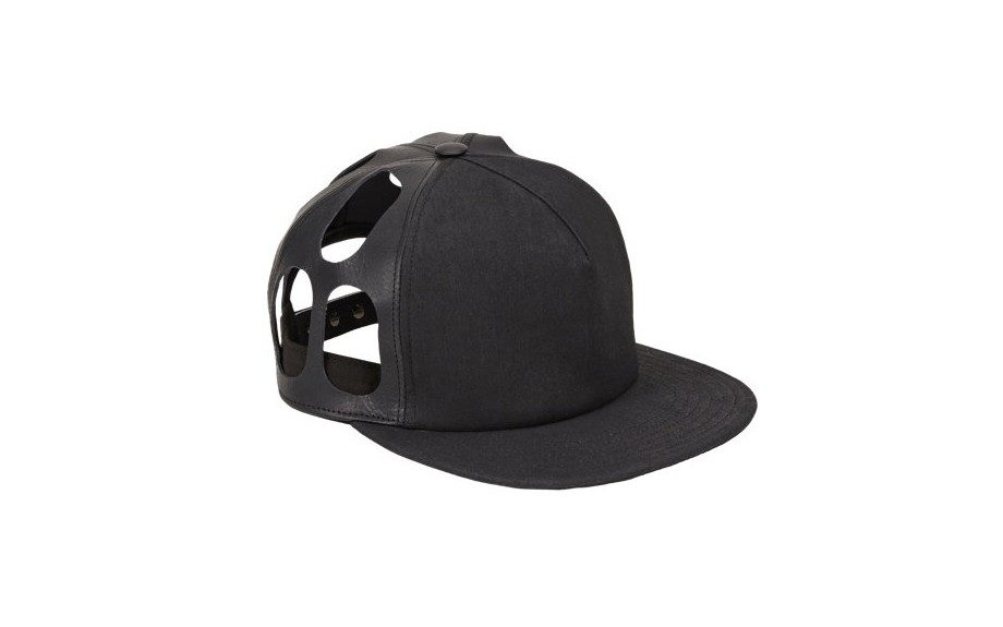 It's that designer sh*t. The black on black leather combo is just epic and the cut-out just reinsures no one else will have your cap. Rick Owens Cut-Out Baseball Cap ($515.00,