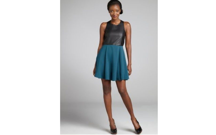"""<a href=""""http://www.bluefly.com/jayee-black-and-teal-faux-leather-tank-dress/PRODUCT_FEED/320992302/detail.fly?referer=ca_shopstyle&cm_mmc=ca_shopstyle-_--_-dresses-_-3209923&partner=Gate_CSE_shopstyle__dresses"""" target=""""_blank""""><u>Jaye.E Faux Leather Tank Dress</u></a>($53,&"""