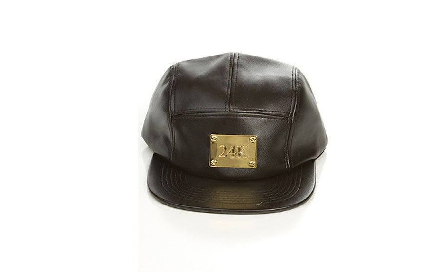 """<a href=""""http://www.yourstrulybrand.com/product/yours-truly-brand-24k-5-panel"""" target=""""_blank"""">Yours Truly24k5-Panel Hat</a>($40, yourstrulybrand.com)"""