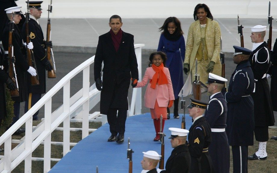 The First Family arriving for President Obama's inauguration