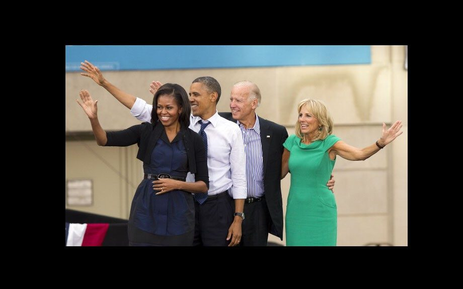 Back at it! The Bidens and Obamas are ready to get people pumped for Election 2012