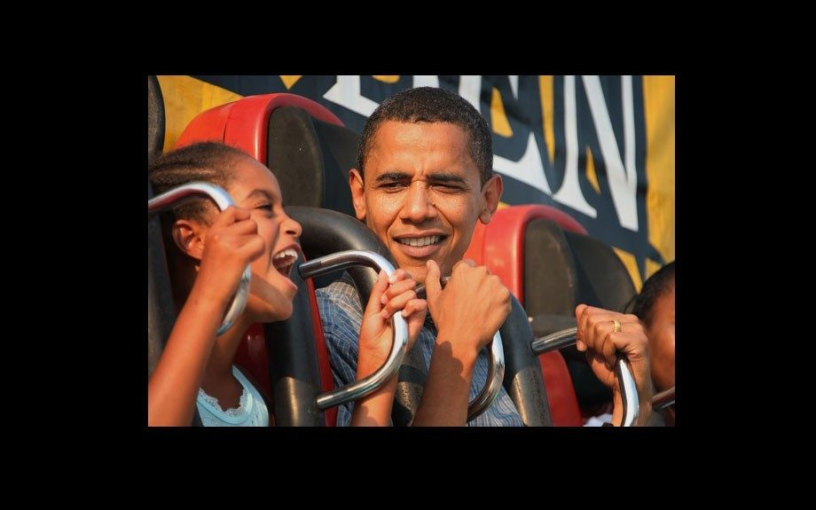 On the campaign trail, Obama enjoys a bit of fun with his daughter, Malia at the Iowa State Fair in 2007
