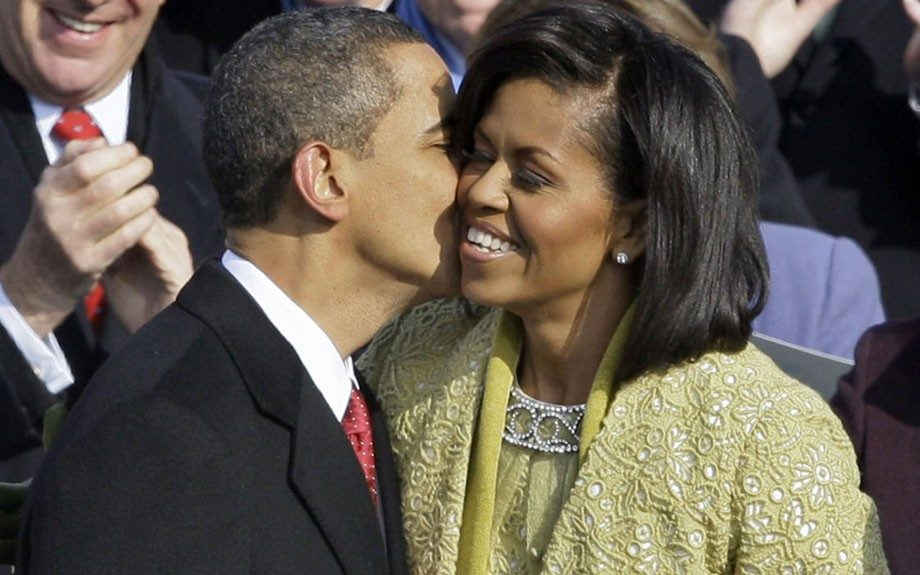 The First couple share a special moment during Obama's inauguration