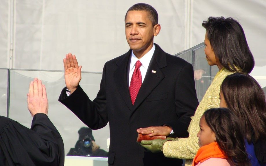 President Obama, with wife Michelle by his side, being sworn in